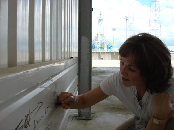 Adding my name to the visitor wall